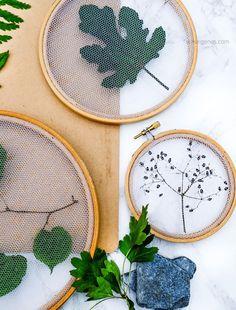 Pflanzen Deko kreativ und selbstgemacht | DIY Getrocknete Blätter mit Tüll im Stickrahmen einspannen | waseigenes.com