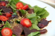 Biltong, avo & strawberry salad [ NYBiltong.com ] #biltong #recipe #flavor