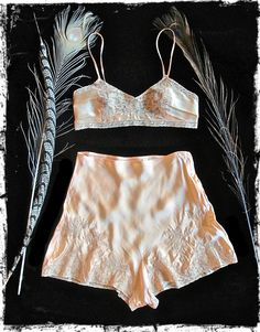 Peach colored silk charmeuse with pretty lace applique details. The bralette has elastic and hook and eye closures. The tap shorts are cut on bias and have two delicate button closures at side. Vintage Lingerie, Lingerie Set, Vintage Outfits, Vintage Fashion, Silk Charmeuse, Couture, Retro, Lounge Wear, My Style