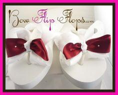 Wedding Bridesmaid Flip Flops  Bridal Flower Girl Jewel White Rhinestone Embellishment BLING Beach Wedding Bow  Bride brides