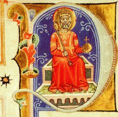 Letter P - King Stephen on the throne with the crown jewels; Képes Krónika (Chronicon Pictum /Illustrated Chronicle), ca. 1360 Országos Széchenyi Könyvtár, Budapest.