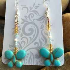 Blue Butterly Glass Seed Beads and Copper Wire Earrings