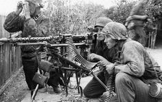 A machine gun of the Leibstandarte Division set for sustained fire.