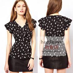 Ruffle hem front fly back lacing slim waist cotton tencel butterfly print short-sleeve shirt female slim top