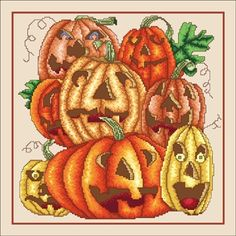 Laughing Pumpkins by Vickery Collection. Cross stitch pattern with colorful pumpkins for Halloween. - I found this while browsing JuliesXstitch.com