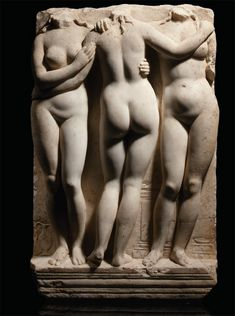 Three Graces, Roman marble relief, circa 2nd Century A.D.