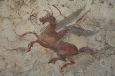The Ancient World :Pegasus. Roman fresco of the cent. Now in the National Museum of Rome - Palazzo Massimo alle Terme. Ancient Rome, Ancient Art, Ancient History, Art History, Museum Studies, Pompeii And Herculaneum, Winged Horse, Roman Art, Tempera
