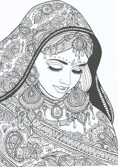 Indian Bride free printable adult coloring pages