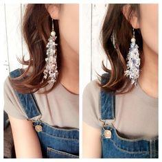 Ribbon Jewelry, Fabric Jewelry, Beaded Jewelry, Diy Earrings, Earrings Handmade, Crochet Earrings, Natural Accessories, Jewelry Accessories, Bead Crafts