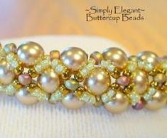 Simply Elegant Bracelet  This colorway is so elegant - love those pale peachy pearls and the opalesque seed beads