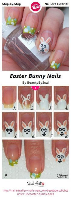 Easter Bunny Nails by BeautyBySuzi - Nail Art Gallery Step-by-Step Tutorials nailartgallery.nailsmag.com by Nails Magazine www.nailsmag.com #nailart