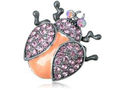 Silver Tone Rose Pink Crystal Rhinestone Ladybug Insect Fashion Jewel Pin Brooch Alilang. $9.99. Save 23% Off!