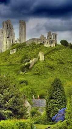 The Corfe Castle ruins in Dorset, England.