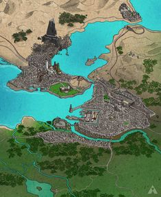 Fantasy City Map [work in progress], Andrew Moore Fantasy City Map, Fantasy Town, Fantasy World Map, Fantasy Castle, Fantasy Places, City Landscape, Fantasy Landscape, Imaginary Maps, Rpg Map