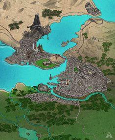 Fantasy City Map [work in progress], Andrew Moore Fantasy Map Making, Fantasy City Map, Fantasy Town, Fantasy World Map, Fantasy Castle, Fantasy Places, Fantasy Art, Imaginary Maps, Rpg Map