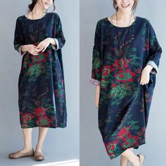 Blue loose flower dresses