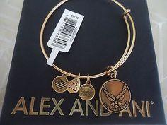 Alex & Ani US AIR FORCE Rafaelian Gold Finish Charm Bangle New W/Tag Card & Box - http://designerjewelrygalleria.com/alex-ani/alex-ani-us-air-force-rafaelian-gold-finish-charm-bangle-new-wtag-card-box/
