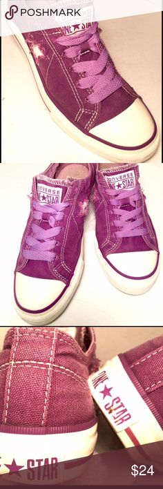 Chuck Taylor one Star sneakers, size 7 Purple one star converse are bringing back the 90's inspired skate vibe. These low top classic sneakers are similar to the original low tops that make this shoe iconic.  One stars give more flexibility and breathability along with the single star that so appropriately represents the one Star😊 Converse Shoes Sneakers