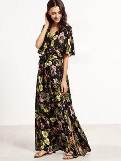 Shop Floral Print Split V Neck Wrap Maxi Dress online. SheIn offers Floral  Print Split V Neck Wrap Maxi Dress & more to fit your fashionable needs.