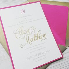 How about a #popofcolor? Berry magenta wine...whatever the term you use you can't help but love Ellen & Matt's #goldfoil #weddinginvitation with #envelopeliner.  Seriously one of my favorite from 2016 (how often do I say that?). Congrats Ellen & Matt!  #dsy #weddinginvitations #iowabride #iowawedding #desmoinesbride #desmoineswedding #danaosborne #magneta #berry #augustwedding
