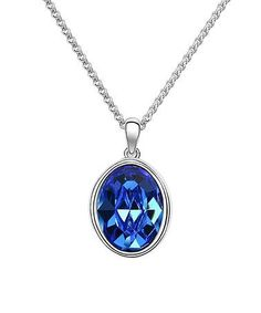 This Sapphire Swarovski® Crystal Oval Pendant Necklace is perfect!