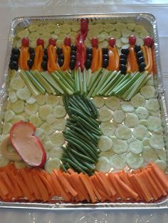 Vegetable platter chanukah menorah