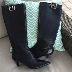 "HP🎉Prada Black Leather Zip Knee High Boots 7 Side zips.  Silver buckle accents.  In great condition with extremely  minor scuffing.  Heel height: 2"". Prada Shoes"