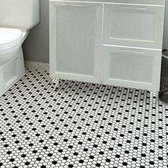 EliteTile Retro x Porcelain Mosaic Tile in Matte White/Black Bathroom Floor Tiles, Shower Floor, Tile Floor, Shower Niche, Bath Tiles, Bathroom Curtains, Mosaic Wall, Mosaic Tiles, Wall Tile