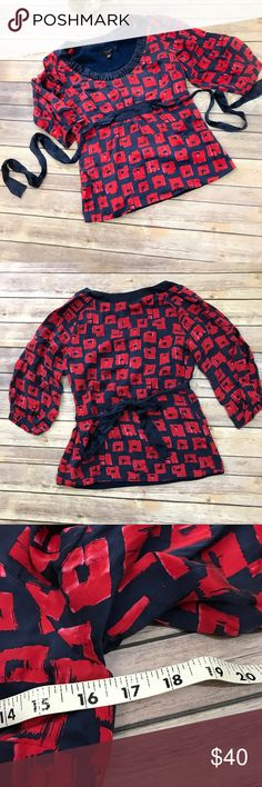 Ted Baker London Silk Top Size 1 US 4 Red Blue This is such a beautiful top with a sash tie and fully lined. It's in very good condition. There's some slight 'wear' on the sash. It's not damaged but isn't a crisp dark blue Measurements in pictures  Smoke free home 🏡 Ted Baker Tops Blouses