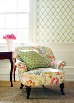 Ingrid wallpaper, Cayman fabric on chair, Starburst Woven fabric on pillow...all by Thibaut Jubilee collection