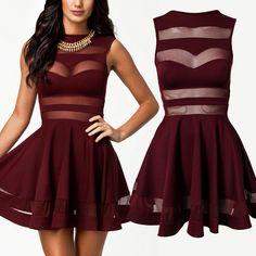 Tank Sleeveless A Line Dark Red Dress