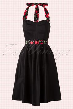 Dolly and Dotty ~ 50s Sophie Halter Swing Dress in Black and Cherry