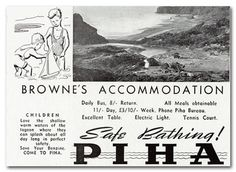 Advertisement for Browne's Accommodation House, Piha. The Weekly News, Christmas Number, October Nz History, Sats, October 14, Child Day, Auckland, Number, Christmas, House, Xmas