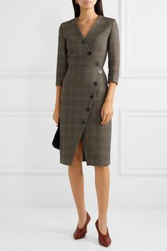 Cefinn - Sofie Prince Of Wales Checked Cotton-blend Dress - Brown , Hair Twist Styles, Corduroy Pinafore Dress, Gown Suit, Famous Brand Shoes, Casual Outfits, Fashion Outfits, Women's Fashion, Short Dresses, Dresses For Work