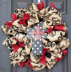 Fleur de lis  Burlap Cross Wreath