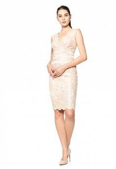 Paillette embroidered lace V-neck cocktail dress / Robe courte en dent...