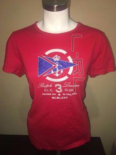 Ralph Lauren Active Nautical T Shirt/Top Womens Large 3 Club Cruise Holiday  #RalphLauren #GraphicTee