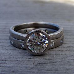 Forever Brilliant Moissanite and Recycled 950 by mcfarlanddesigns, $2748.00