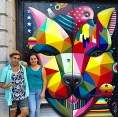 Okuda and his sister with his work in NYC, 9/15 (LP)