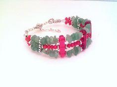 Light green Adventurine gemstone bracelet, opaque red crystal, multi strand memory wire bracelet, by barefootcreekgifts on Etsy