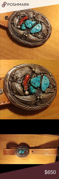 Vintage Navajo Sterling Silver Belt Buckle Vintage Navajo Sterling Silver Turquoise and Coral Leather Buckle Belt crafted by M. Thomas Jr. in great condition. It's a perfect antique/collectible for boho/western style. Vintage Accessories Belts
