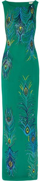 MATTHEW WILLIAMSON ENGLAND Swarovski Crystal-Embellished Silk Georgette Gown *dressmesweetiedarling*