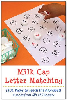 Free printable Milk Cap Letter Matching activity to work on matching uppercase and lowercase letters of the alphabet. When a fun way to teach the alphabet! || Gift of Curiosity