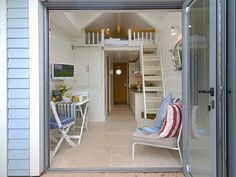 Inside beach hut-