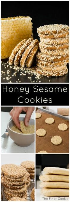 Honey Sesame Seed Cookies are so good, they make bees jealous! They're a lunchbox favorite and an office drawer must. Delicious Cookie Recipes, Baking Recipes, Dessert Recipes, Bar Recipes, Recipies, Recipe For Sesame Cookies, Honey Cookies, Seed Cookies, Cupcake Cookies