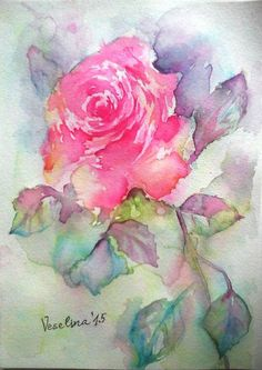 Original transparent watercolor, watercolor rose, abstract rose painting, watercolor flower, pink rose, aquarelle painting, watercolor art by VeselinaArt on Etsy https://www.etsy.com/listing/233004756/original-transparent-watercolor