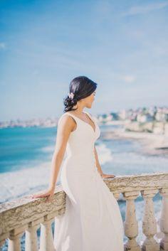 Bridal Session with dresses of Penhalta at Villa Sao Paulo, Estoril - Lisbon, Portugal www. Bridal Session, Bridal Shoot, Ocean View Wedding, Lisbon Portugal, Beautiful Gowns, Coastal, Destination Wedding, Villa, Bride