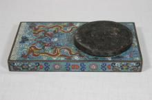 Chinese cloisonne inkwell with bronze cover