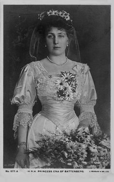 Dressed as a bridesmaid at a 1905 wedding, Victoria Eugenie of Battenburg, known as Ena, would later become queen consort of Alfonso XIII, the last king of Spain before the formation of the Second Spanish Republic in 1931 and the outbreak of the Spanish Civil War in 1936. This photo was taken in 1905.