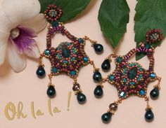 Earrings with Swarovski and Gold Fill, Beaded by Esther Marker